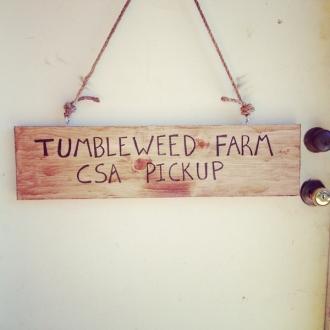 Tumbleweed Farm CSA Pickup Sign